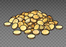 Cartoon pile of gold coins isolated on transparent background. Heap of money. Vector illustration. Cartoon pile of gold coins isolated on transparent background stock illustration