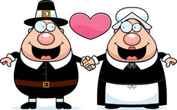 Cartoon Pilgrim Couple Stock Photography
