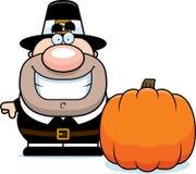 Cartoon Pilgrim Pumpkin Stock Photo