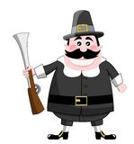 Cartoon Pilgrim With Rifle Royalty Free Stock Image