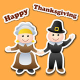 Cartoon pilgrim stickers for Thanksgiving Royalty Free Stock Images