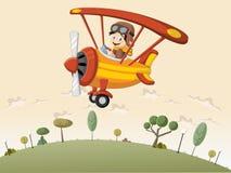 Cartoon pilot boy on a airplane Royalty Free Stock Photography
