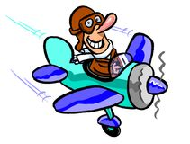 Cartoon of pilot flying small plane. Cartoon illustration of pilot with large nose, helmet, goggles and scarf flying a small single seat plane painted in blue Royalty Free Stock Photo