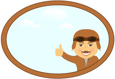 Cartoon pilot in frame with sky Royalty Free Stock Photo