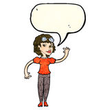 Cartoon pilot woman waving with speech bubble Stock Photography