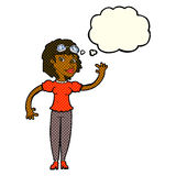 cartoon pilot woman waving with thought bubble Royalty Free Stock Photography