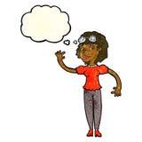 cartoon pilot woman waving with thought bubble Stock Photo