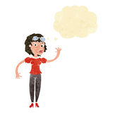 Cartoon pilot woman waving with thought bubble Royalty Free Stock Images