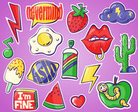 Cartoon pin badge icons from the 90s. Vector illustrations. Stock Image