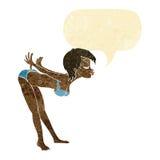 Cartoon pin up girl in bikini with speech bubble Royalty Free Stock Photography