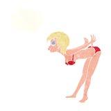Cartoon pin up girl in bikini with thought bubble Stock Photo