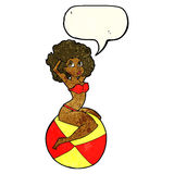 Cartoon pin up girl sitting on ball with speech bubble Stock Image