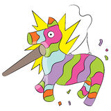 Cartoon Pinata Hit with Stick Royalty Free Stock Photo