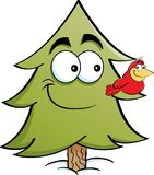 Cartoon pine tree with a bird on it`s branch. Royalty Free Stock Photo