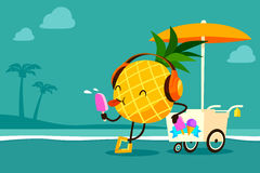 Cartoon pineapple eat ice cream at the beach Royalty Free Stock Image