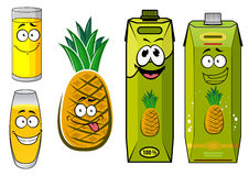 Cartoon pineapple fruit, juice packs and glasses Royalty Free Stock Photography