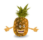 Cartoon pineapple. Objects over white. stock illustration