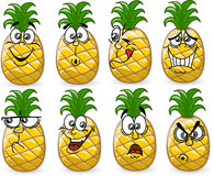 Cartoon pineapples with emotions,vector Royalty Free Stock Photography