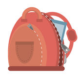 Cartoon pink bag student school. Vector illustration eps 10 Royalty Free Stock Images