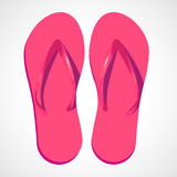 Cartoon pink beach slippers. Two swimwear sandles isolated on white background. Cartoon pink beach slippers Royalty Free Stock Photography