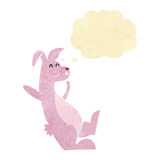 cartoon pink bunny with thought bubble Royalty Free Stock Photography