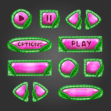 Cartoon pink  buttons with leaves Stock Photo