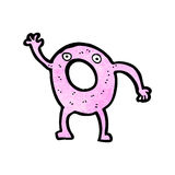 Cartoon pink doughnut waving Stock Image