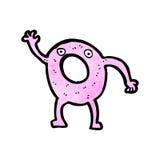 Cartoon pink doughnut waving Stock Image