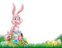 Cartoon Pink Easter Bunny Egg Hunt Stock Photos