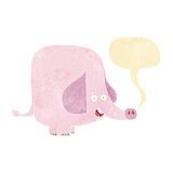 Cartoon pink elephant with speech bubble Royalty Free Stock Images