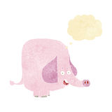 Cartoon pink elephant with thought bubble Royalty Free Stock Photos