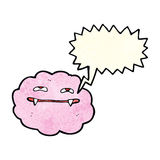 Cartoon pink fluffy vampire cloud with speech bubble Royalty Free Stock Photography