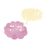 Cartoon pink fluffy vampire cloud with speech bubble Royalty Free Stock Images