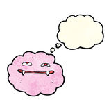 Cartoon pink fluffy vampire cloud with thought bubble Stock Photo