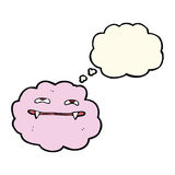 Cartoon pink fluffy vampire cloud with thought bubble Royalty Free Stock Photos