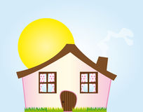 Cartoon pink house Royalty Free Stock Images
