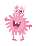 Cartoon Pink Microorganism. Funny Smiling Germ. Character with big eyes on head. Monster bacteria with tooth, hands, open mouth. Vector funny illustration in Stock Photography