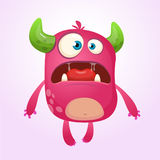 Cartoon pink monster.  Vector Halloween illustration Stock Photo