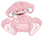 Cartoon pink monster. Royalty Free Stock Images