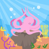 Cartoon Pink Octopus Underwater Deep Ocean Bottom Stock Photo