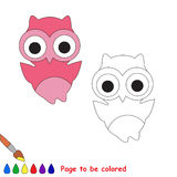Cartoon pink owl to be colored Royalty Free Stock Images
