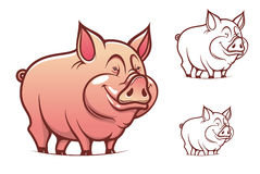 Cartoon pink pig. Farm cartoon pink pig isolated on white Royalty Free Stock Image