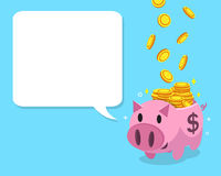 Cartoon pink piggy bank with white speech bubble. For design Royalty Free Stock Photography