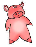 Cartoon pink piggy. Humorous drawing of an endearing little pink pig Royalty Free Stock Image