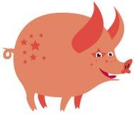 Cartoon pink piggy with stars Stock Photos