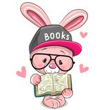 Cartoon Pink Rabbit in a cap with book stock image