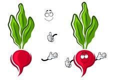 Cartoon pink radish vegetable character Royalty Free Stock Photos