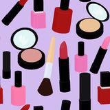 Cartoon pink and red nail polish  lipstick seamless vector pattern background Stock Photo