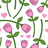 Cartoon Pink Rose Seamless Pattern Royalty Free Stock Photos