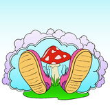 Cartoon pink shoes with poison mushroom Royalty Free Stock Photo